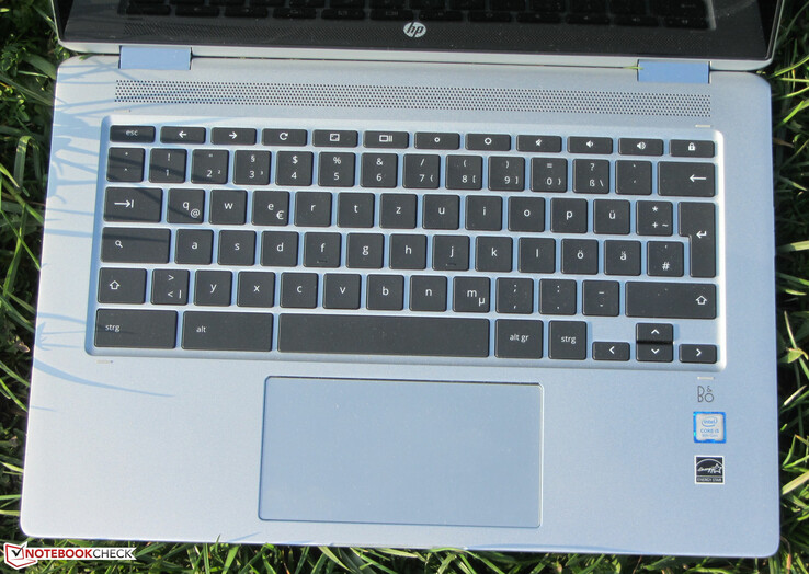 A look at the keyboard deck and trackpad