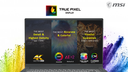 MSI True Pixel display is a combination of several features specially designed for creative pros. (Image source: MSI)