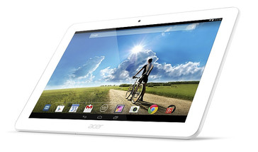 Acer Iconia Tab 10 left facing angled white