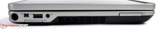 سمت چپ: قلم نگهدارنده، فایروایر، پورت USB 2.0، کارت خوان، ترکیب صدا در / از