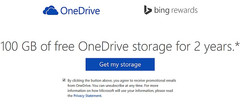 100 GB free OneDrive storage for two years with free Bing Rewards account