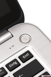 Stylish detail: The illuminated power button when in use.