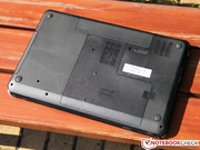 The bottom of the notebook is matte plastic and hence differs from the rest of the chassis, ...