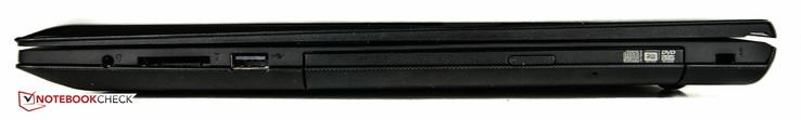 right side: audio combo-jack, SD card reader, USB 2.0, Kensington lock slot