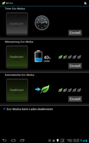 "The system settings allow the ""Eco Mode"" to be edited, so that the power hungry..."
