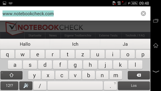 Keyboard: landscape mode