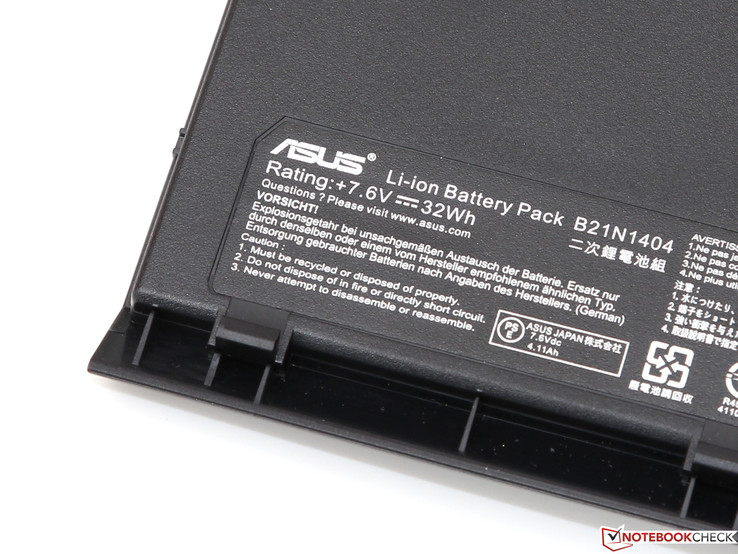 The battery only has a capacity of 32 Wh.