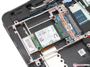 The 2.5-inch tray accommodates an mSATA-SSD with the corresponding adaptor.
