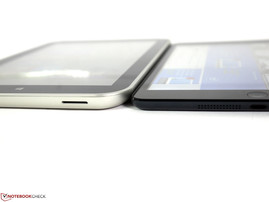 Toshiba Encore WT8 (left) and the iPad Mini (right) compared