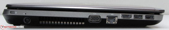 Left: Kensington lock slot, power socket, VGA out, Gigabit Ethernet socket, HDMI, 2x USB 3.0