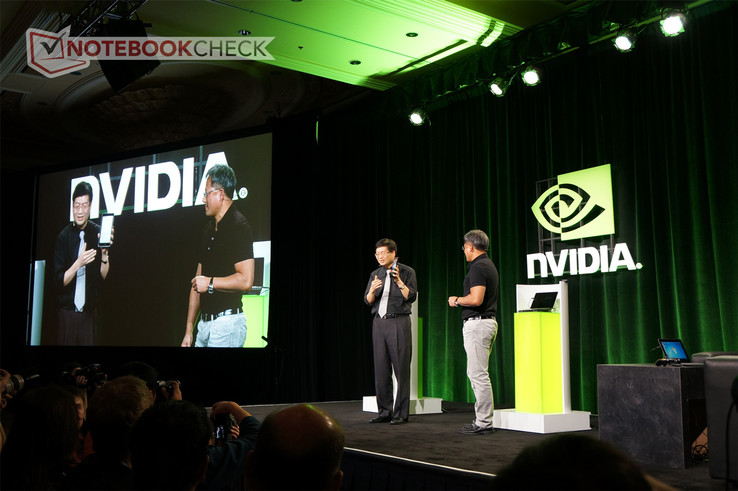 Nvidia CEO Jen-Hsun Huang reveals the $249 tablet alongside Asus CEO Jerry Shen.