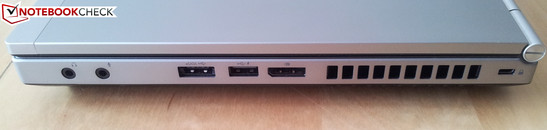 Right side: 2 x Audio, eSATA/USB-combined, USB 2.0, DisplayPort, Kensington