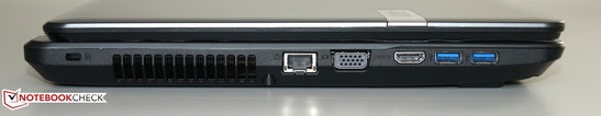 Right: Kensington Lock, Ethernet, VGA, HDMI, 2 x USB 3.0