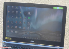 Outdoors (sun behind laptop)