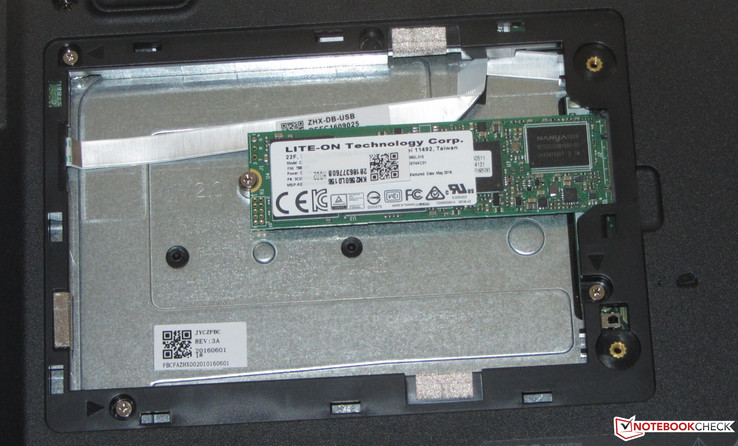 An M.2 SSD is inside the TravelMate. A 2.5-inch hard drive cannot be retrofitted. A SATA slot is absent.