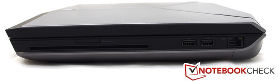 Right side: DVD burner, 2x USB 3.0, 1x LAN