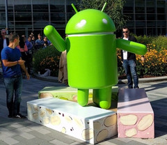 Android Nougat statue at Googleplex, 7.1.2 update now official