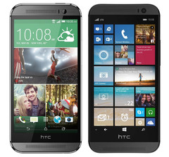 HTC One M8 smartphone with Android and Windows Phone
