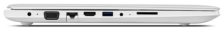 Right: LED, USB 3.0, USB 2.0, DVD drive, Kensington