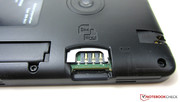 The slots for the micro-SIM and microSD cards are located underneath the case cover.