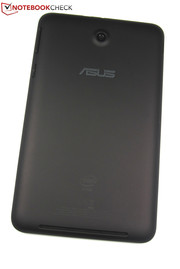 The back of the Asus tablet is made of matte and slightly rubberized plastic.
