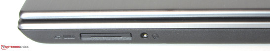 Right hand side: Memory card reader (SD, MMC) and audio combo port