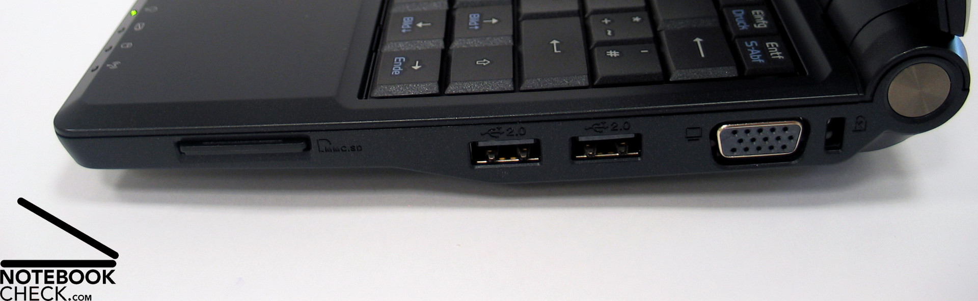 Right Side: Card Reader, 2x USB, VGA, Kensington. In regards to  communication, the Asus Eee PC 900 ...