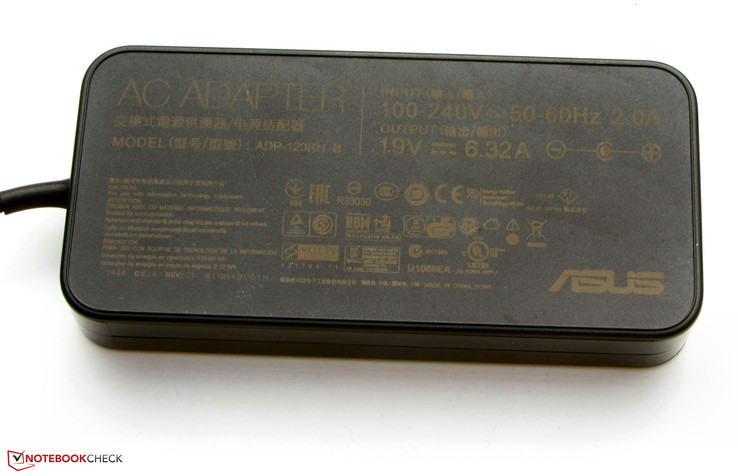 The power adapter has a nominal output of 120 watts.