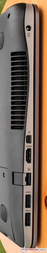Left-hand interfaces with fold-out Ethernet port.