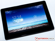 The 10-inch display of the tablet...