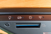 The SD-card slot is located right beneath the status LEDs.