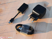 Tablet's power supply, USB cord, DisplayPort-to-VGA adapter