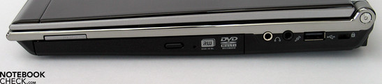 Right side: DVD drive, card reader, audio ports (S/PDIF), USB, Kensington lock