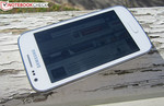 The Samsung Galaxy Ace 3 outdoors.