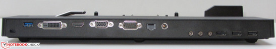 Rear: Kensington lock slot, USB 3.0, DVI, HDMI, VGA, serial interface, network, power socket, 3x audio, 3x USB 2.0