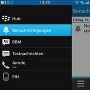 The BlackBerry Hub compiles all kinds of information in the message app. It is opened by swiping toward the right on the home screen.
