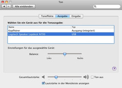 Loudspeakers in the Mac OS x system settings