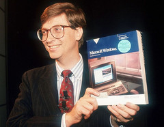 Bill Gates and Microsoft Windows 1.0 retail box back in 1985