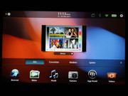 The BlackBerry Tablet OS has its own menu navigation that is not similar to Android 3.2.