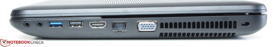 Right side: Headphone jack, Microphone jack, USB 3.0, USB 2.0, HDMI, Ethernet, VGA output, slot for a Kensington lock
