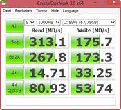 CrystalDiskMark: 313 MByte/s reading sequential