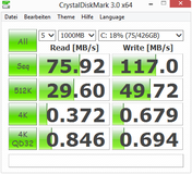 CrystalDiskMark 76 MB/s seq. read