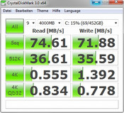 CrystalDiskMark 74/72 MB/s read/write