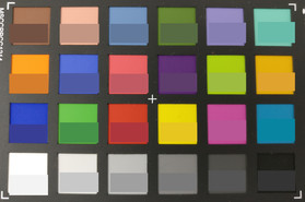 Picture of the ColorChecker colors. The original color is displayed in the lower half of each patch.