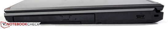 Right side: DVD burner (multi-bay), USB 2.0, slot for Kensington Lock