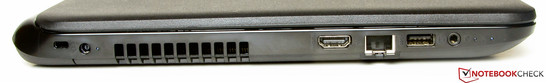 Left side: slot for a Kensington lock, AC power, HDMI, Ethernet, USB 2.0, combined stereo jack