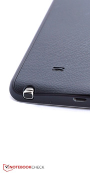 The stylus is inserted in the casing's lower edge.