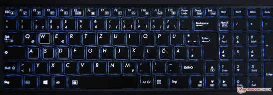 The keyboard features a strong, blue light.