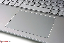 Amply sized touchpad with integrated mouse buttons.