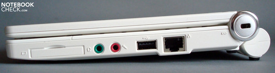 Right: Expresscard/34 Slot, Audio, USB, LAN